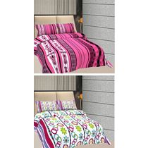 Freely Cotton Pure Cotton Combo Of 2 Double Bed Sheet With 4 Pillow Covers, multicolor