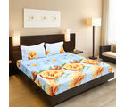 Valtellina India Beautiful Floral Design 1 Double Bedsheet & 2 Pillow Covers (FLT-003), pink
