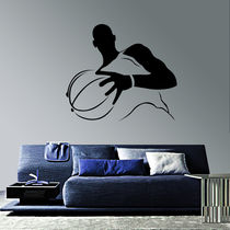 Creative Width Basketball Player Wall Decal, multicolor, large