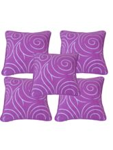 meSleep Set of 5 Suede with designer print Cushion Covers CSPM-10, multicolor
