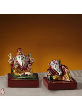 Miniature Ceramic Hand Painted Ganesh Murti Set (Multicolor)