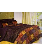 Welhouse India Polycotton Geomatric Design 4pcs Bedding Set, purple