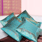 Rivayat Banarasi Hand Made Silk King Size Cushion Cover (set of 5),  light blue