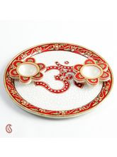 Om Aarti Thali In Pure White Marble With Kundan Work, multicolor