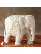 Royal Elephant Sculpture In White Marble (White)