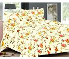 Valtellina Flowery Print Double Bedsheet With 2 Pillow Cover (TC-140), design d, beige