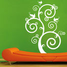 Creative Width Swirl With Birds 1 Wall Decal, multicolor, medium
