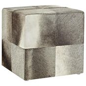SWHF Square Leather Pouf,  grey