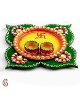 Clover Leaf Design Wood And Clay Work Pooja Thali (Multicolor)