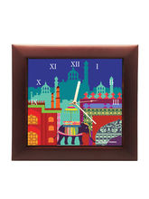 The Elephant Company Square Clock Elephant Savari, blue