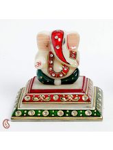 Siddhi Vinayak On A Marble Pedestal With Kundan Work, multicolor