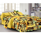 Story At Home Pure Cotton Single Bedsheet With 1 Pillow Cover, yellow