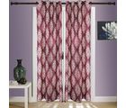 SWHF Printed Curtains Set of 2 Floral, red and beige