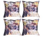 meSleep Cushion Covers Painted CASTLE (Set of 4), multicolor