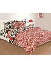 House This Standalone Classic 1 Single Bed Sheet & 1 Pillow Cover, red