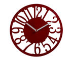 Cut Design Round Numeral Wall Clock, red