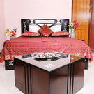 Rivayat Banarasi Hand Made Silk King Size Bed Sheet with 2 Pillow Cover & 2 Cushion Cover,  maroon