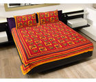 GRJ INDIA Rajasthani Dashing Doll Print Double Bedsheet With 2 Pillow Covers, multicolor
