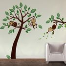 Creative Width Monkeys On Branch Wall Decal, multicolor, large