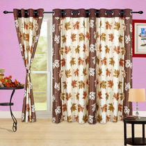 Cortina Autumn Leaf- 7Ft Curtain,  coffee