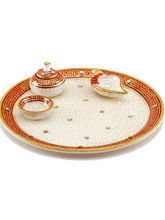 Marvel in Marble - Gold Embossed Aarti Thali (Multicolor)