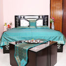 Rivayat Banarasi Hand Made Silk King Size Bed Sheet with 2 Pillow Cover & 2 Cushion Cover,  light blue