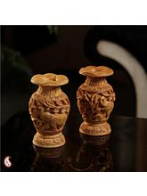 Pair of carved Floral vases (Brown)