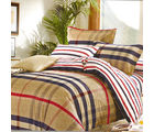 Aapno Rajasthan Cute Cotton Double Bedsheet with Checke Print, brown