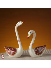 Pure White Ceramic Swans Set With Enamel Work (Multicolor)