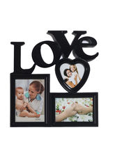 Love Message 3 Pictures Collage Photo Frame, black