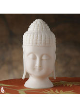 Buddha Head Made In Pure White Rajastani Marble (White)