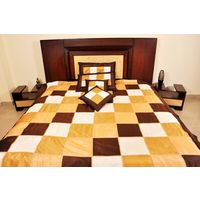 Banana Prints Set of Five Plain Check Bed Cover - BC_ 3014, multicolor