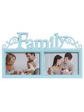 Stylish Sky Blue 2 Pictures Collage Photo Frame, blue