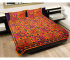 GRJ INDIA Rajasthani Animal Print Double Bed Sheet With 2 Pillow Cover, multicolor