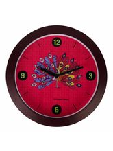 The Elephant Company Round Clock peacock, pink