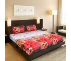 Valtellina India Beautiful Floral Design 1 Double Bedsheet & 2 Pillow Covers (FLT-005), multicolor
