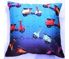 Welhouse India Multicolor Scooters 3D Digital Cushion Cover, multicolor