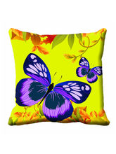 meSleep Blue Butterfly Cushion Cover (16x16), yellow