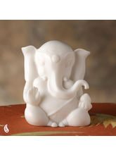 Abstract White Rajastani Marble Ganesh Statute (White)