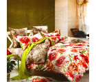 Aapno Rajasthan Cotton Double Bedsheet with Big Floral Print, multicolor