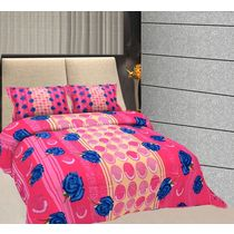 Freely Cotton Pure Cotton Double Bed Sheet With 2 Pillow Covers, multicolor