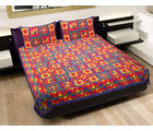 GRJ INDIA Rajasthani Exclusive Sanganeri Design Double Bed Sheet With 2 Pillow Cover, multicolor