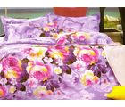 Welhouse India Floral Print Double Bed Sheet With 2 Pillow Cover, purple