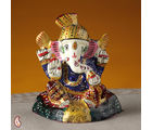 Hand Painted Ceramic Turban Lord Ganesh Figurine (Multicolor)