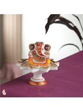 Marble Ganesh mounted on Lotus pillar (Multicolor)