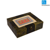 ExclusiveLane Dhokra Antique Finish Wooden Utility Box, gold