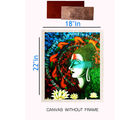 meSleep Canvas painting without frame - buddha and Silver plated Rs. 1000 replica note, multicolor