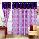 Cortina Print Drape 7Ft Curtain,  purple