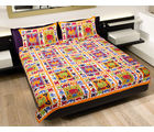 GRJ INDIA Rajasthani Traditional Animal Print Double Bed Sheet With 2 Pillow Covers, multicolor