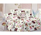 Valtellina Floral Design Cotton Double Bed Sheet With 2 Pillow Cover (TC-140), white, design 3